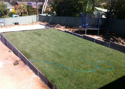 Concrete sleepers and turf in Hawker, Canberra