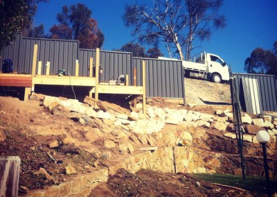 Landscape construction on heavy slope in Calwell, Canberra