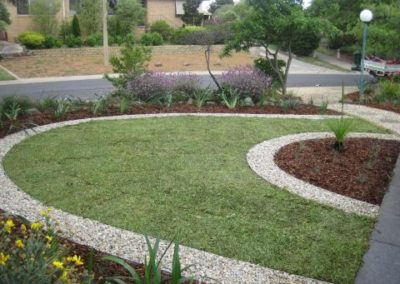 Curved grass and garden