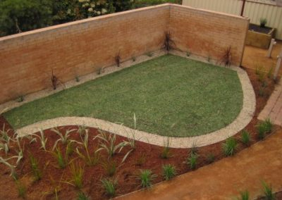 Grass area landscaped