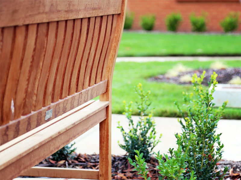 Bench seat to enjoy landscaped gardens