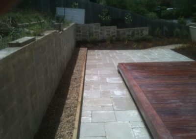 Paved path with raised timber edging