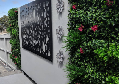 Wall decoration with qaq decorative screens and vertical garden